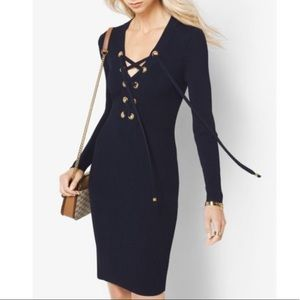 Michael Kors Lace Up Ribbed Long Sleeve Dress
